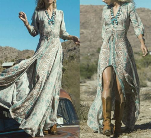 WOMEN BOHO SUMMER FLORAL SKIRT PARTY EVENING BEACH 3/4 SLEEVE LONG MAXI DRESS